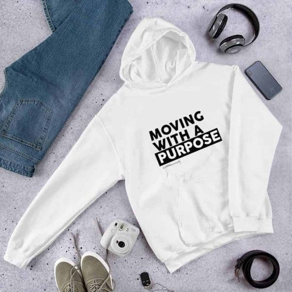 Moving With A Purpose Hoodie White - Stiletto Boss University