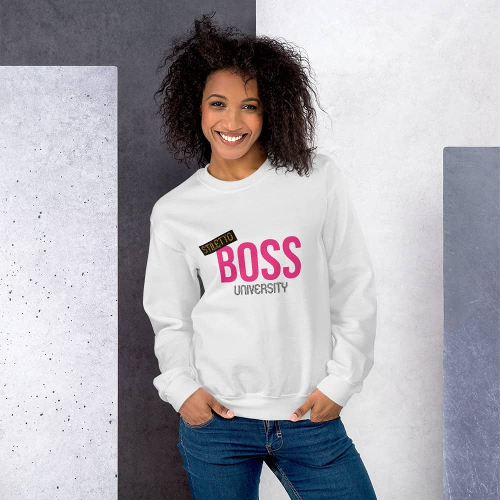 Unisex Swaetshirt - White - Stiletto Boss University